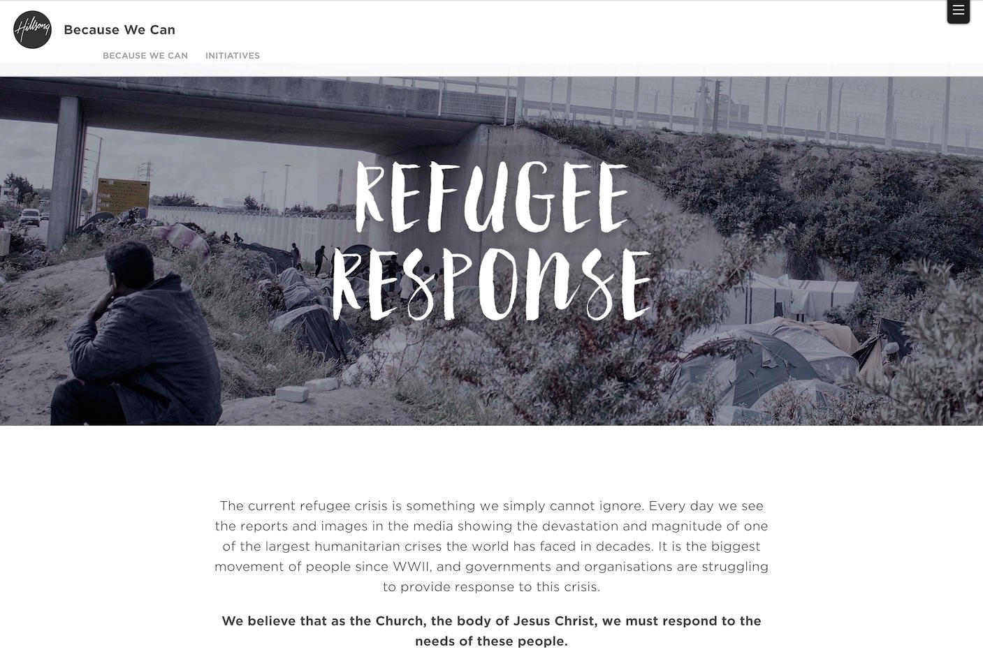 Hillsong Church Refugee Response Website