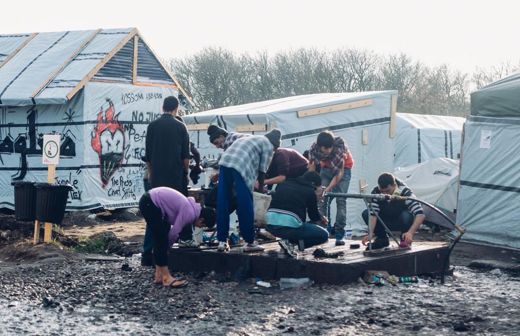 Calais refugee camp water points